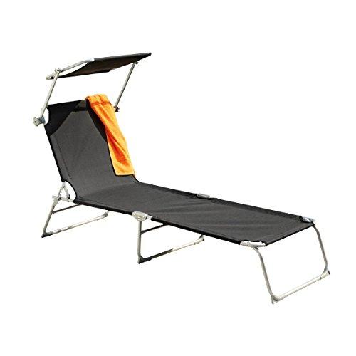 greemotion Texel Chaise Longue avec Pare-soleil, Bain de Soleil en Aluminium et Textilène avec Dossier Réglable, Chaise Longue de Jardin à 3 Pieds, Transat de Plage et Camping, Pliable, Noir-gris