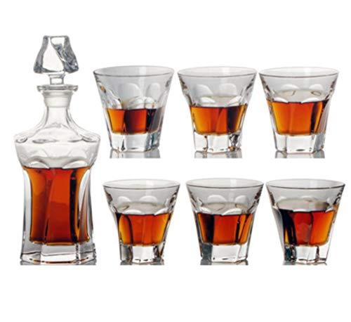 Yycdd set di 7 pezzi - tazza di vino, cristallo trasparente senza piombo, boccale di birra decanter confezione regalo in vetro bottiglia, alla moda/la scelta migliore