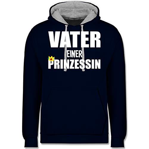 ook Familie Papa - Vater Einer Prinzessin - XS - Navy Blau/Grau meliert - JH003 - Kontrast Hoodie ()