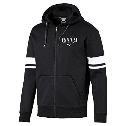 Puma Athletic Fz Felpa Sportiva - Nero (Cotton Black/Bianco) - L