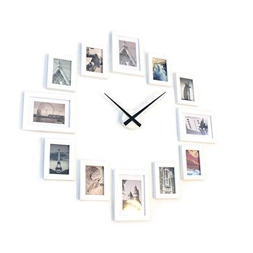 LongYu Pared de la Foto Relojes Grandes portafolio Marcos de Cuadros Juegos de Pared Marco Decorativo Pared de Fotos de Dibujos Animados 7 Pulgadas Color : HU Black and White Blue