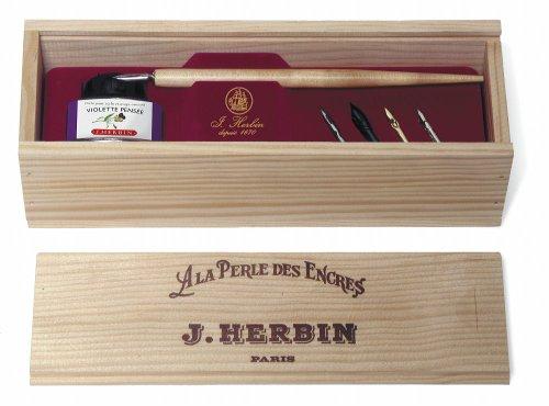 J.Herbin 27077T - Conjunto de plumas de regalo en caja de madera, La Perle des Encres
