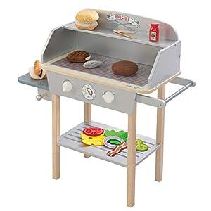 roba BBQ Grill aus Holz, mit 14-teiligem Stoffzubehör, Spielzeug Barbecue Grill für Kinder, Rollenspielzeug für Jungen…