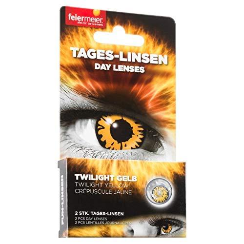 feiermeier® Kontaktlinsen (Tageslinsen) ohne Stärke (1 Paar = 2 Stk.) - für Halloween, Fasching & Co. (Gelb)
