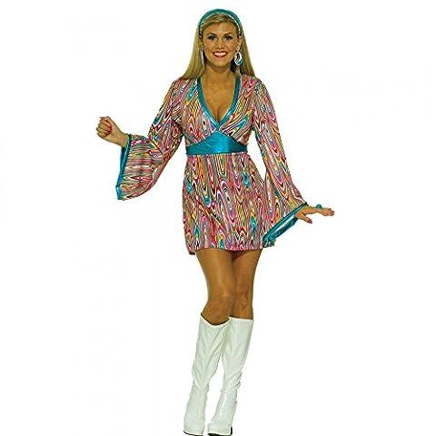 60er Jahre Kleid Pink/Türkis mit Retro-Muster Hippie Damen Kostüm 70er , Größe:S/M