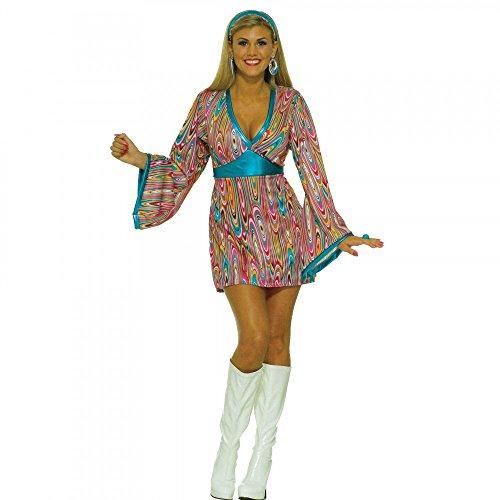 60er Jahre Kleid Pink/Türkis mit Retro-Muster Hippie Damen Kostüm 70er , - Hippie Kostüm Muster