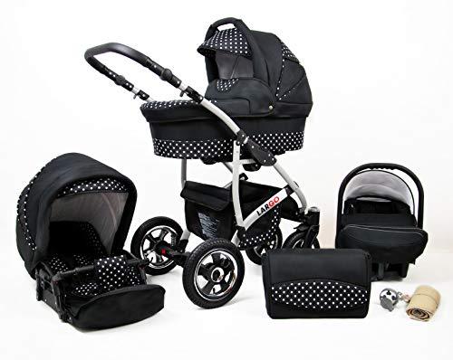 Kinderwagen Largo,3 in 1 -Set Wanne Buggy Babyschale Autositz mit Zubehör White Dots