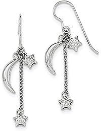 55fc0dae91df Broche de plata de ley chapado en rodio diamond-cut pintura coja relieve  estrellas y lunas Juego de pendientes de…