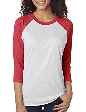 Classics Color Sólido Contrast 3/4 Manga Raglán Cuello Redondo Tee, Camiseta Para Mujer