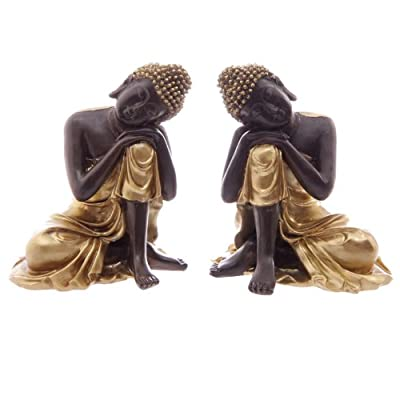 Gold & Brown Thai Buddha Resting Head on Knee 12cm