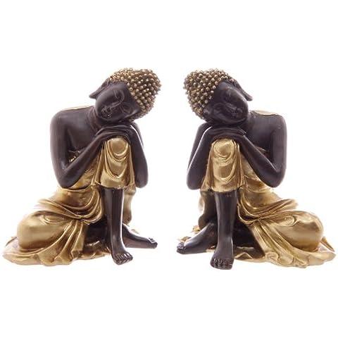 Set da 2, colore: marrone e per il letargo invernale dei porcospini ornamentali Thai Buddha Figurines