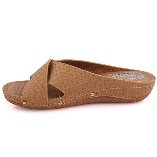 Unze Signore delle donne 'Isole' Cross Over confortevole Open Toe Slip On Bassa tacco casuale dei pistoni calza il formato 3-8 Beige