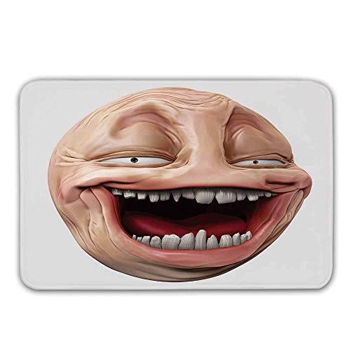 Kinhevao Humor Dekor rutschfeste Eingangsgummiteppich, Poker Face Guy Meme Lachen Mock Person Selbstgefällig Dumm Ungerade Post Forum Grafik Fußmatte für die Haustür Badematte -