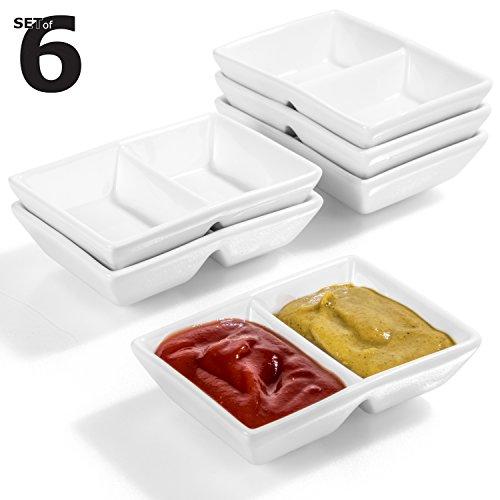 Urban Lifestyle 6 x Rechteckiges Saucenschälchen Hokkaido (8,8 x 6,2 x 2,3cm Doppelschälchen)
