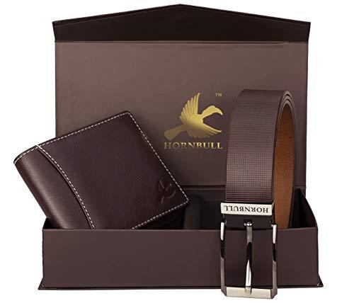 HORNBULL Men's Leather Wallet and Belt Combo...