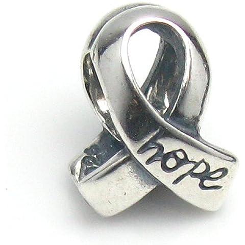 Argento Sterling 925Cancro al seno consapevolezza nastro w/Speranza, perline per