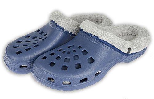 Viva Winterclogs Gr.36-45 Clogs Unisex - gefüttert Hausschuhe Gartenschuhe Schuhe – Verschiedene Farben (41, Blau-Grau)