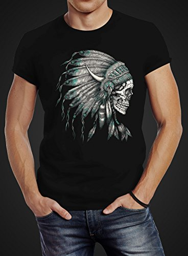Herren T-Shirt Indianer Federn Häuptling Totenkopf Skull Feather Neverless® Schwarz