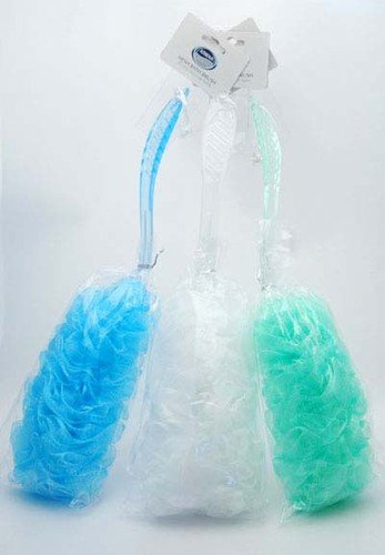 1 Back Bath Mesh Puff Brush & Long Plastic Handle - in White, Green or Blue (White)