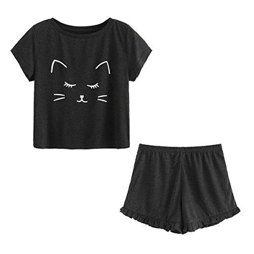 DIDK Damen Schlafanzug mit Katzen-Druck Top und Shorts Pyjama Set Schwarz L
