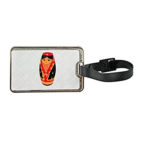 Metal luggage tag with A Ruassian doll in a nice style