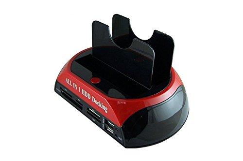 SATA HDD Docking Station +Card Reader Hub (IDE+SATA rot) (Dual-cf-card-reader)