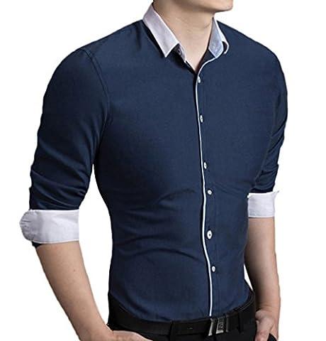 Scothen T-shirt pour hommes Slim Fit,Super moderne super qualité chemise slim fit non-fer/repassage facile hommes pour le mariage Business Leisure Casual longue poche manche Contraste Chemise