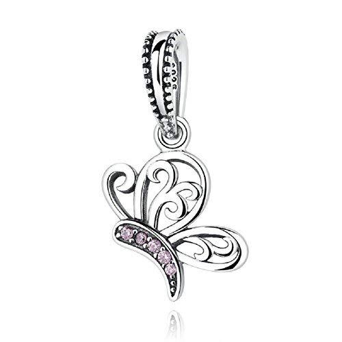 Schmetterling Flower Fairy baumeln 925Sterling Silber Charm Pink CZ passend für europäische Armband von chengmen Schmuck