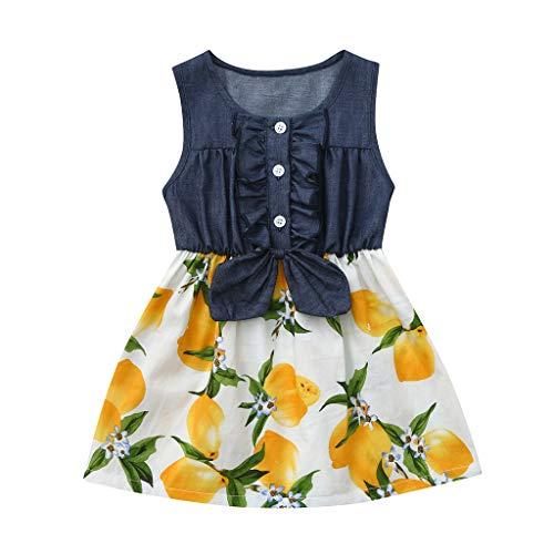 feiXIANG Mädchen Kleid Patchwork Denim Kleider Kostüm ärmellose Kleinkind Pfirsich Zitrone Drucken ()