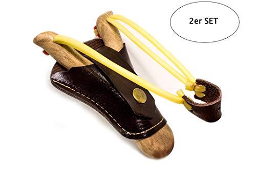 Steinschleuder Zwille Schleuder aus Holz mit Tasche - professionelle Outdoor-Zwille für Sport, Jagd, Angeln und Baumpflege (Set)