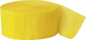 Unique Party Serpentina de papel crepé para fiestas Color amarillo intenso 24 cm 6305