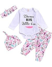 DaMohony 4 Piezas Conjuuntos de Ropa para Bebés Recién Nacidos Mono Pantalones Hermanos