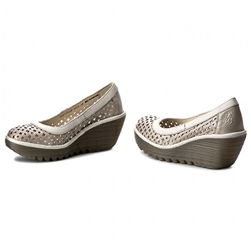 Fly London Womens Yika733Fly Leather Shoes Silver / Off White