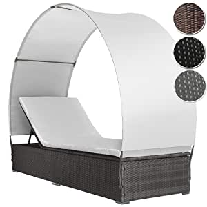 miadomodo sonnenliege aus polyrattan in grau. Black Bedroom Furniture Sets. Home Design Ideas