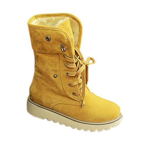 Minetom Damen Stiefeletten Matte Wildleder Stiefel Schnee Winter Fur Boots Winterstiefel Warm Casual Flats Bequeme Boots ( Gelb EU 41) (Mitte Gelb Schuhe)