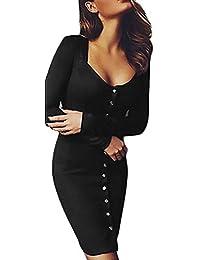 Frauen Kleid Minikleid Elegant Kurz Langarm U Ausschnitt Eng Einreihig Normallacks  Bleistiftkleid Große Größen Unique Cocktailkleid dbec22e59f