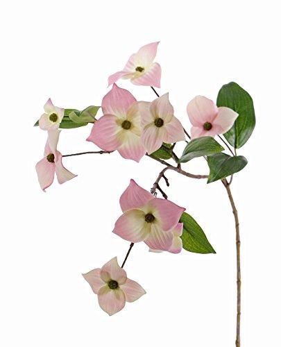 artplants Künstlicher Japanischer Hartriegel Zweig Kohana, 9 Blüten, rosa, 70 cm - Kunstzweig blühend/Plastik Blume (Hartriegel-künstliche Blume)