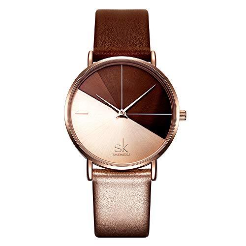 Damenuhren Farbverlauf Braun Rotgold Zweifarbiges Zifferblatt Zwei Zeiger Quarz Armbanduhren für Damen Lederband Mode