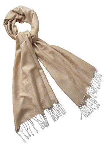 Nella-Mode Edler & Eleganter Schal, Stola; - Florales Muster; - Farbe: Hellgold/Hellsilber (Schal Muster Florales)