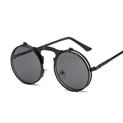 Dampfexplosion Modelle Retro-Punk-Metall Klapp-Flip Sonnenbrille-Sonnenbrille Für Männer Und Frauen Gezeiten Modelle Sonnenbrille Mann 3057,Black