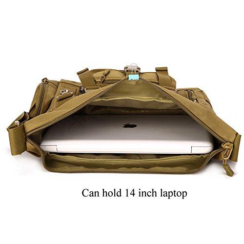 petto zaino militare tattico borsa sulla spalla crossbody pack per la caccia in campeggio trekking Marrone