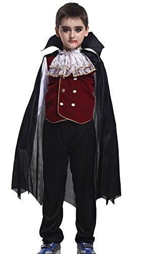 GIFT TOWER Kinder Vampirkostüm Jungen Karneval Fasching Kostüm Vampir Dracula Verkleidung (M) (Dracula Kinder-kostüme)