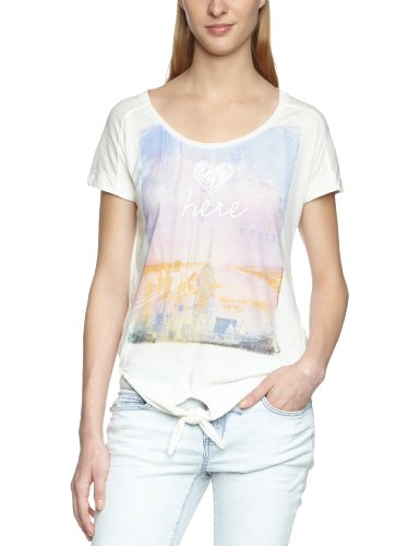Mavi Damen T-Shirt Woven Detailed Top ; 163182-13878, Gr. 36/38 (S), Weiß (13878; WOVEN DETAILED S/S TOP; oatmeal)