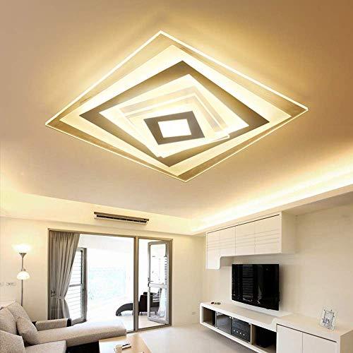 MEIEI 78W LED Wohnzimmer Deckenleuchte Dimmbar Fernbedienung Modern Minimalistische Deckenlampe Weiß Metall Platz Design Schlafzimmer Küche Korridor Flur Esszimmer Arbeitszimmer Lampe Einfach Leuchte,