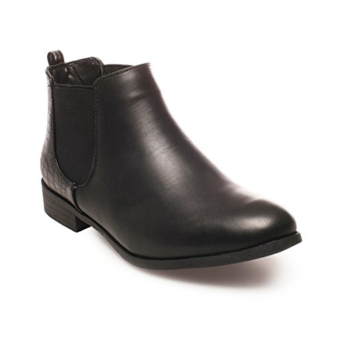 La Modeuse - Bottines effet chelsea en simili cuir Noir