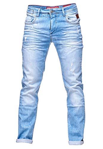 Rusty Neal Jeanshose Herren Light Blue Hell Blau Stretch Denim Jeans Stretch Effeckt 082, Hosengröße:31/34