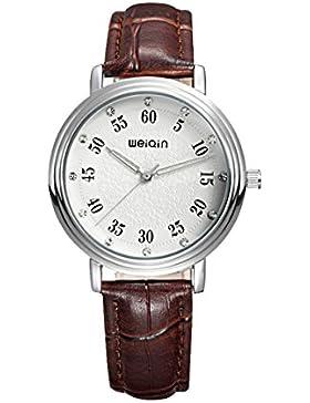 Mode Damen Strass Skala Geschnitzt Zifferblatt Lederband Quarz Armbanduhr Braun