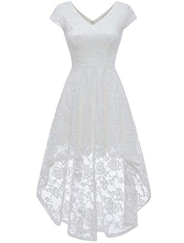 AONOUR AR8010 Damen Elegant Hi-Lo Cocktailkleider Floral Spitze V-Ausschnitt Abendkleider Cap Ärmel...
