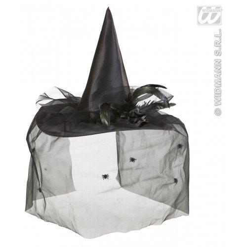 Widmann wdm9430K-Kostüm für Erwachsene Hut Hexe mit Tüll, Blumen und Federn, Schwarz, Einheitsgröße