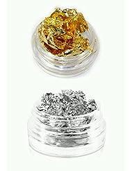 New Nail Art Set Blattgold Gold und Silber Folie Glitzer Glitter Einleger für Gelnägel zur Einarbeitung